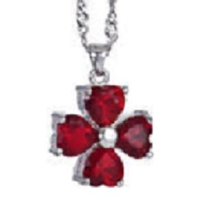 Jewelry - 4 Hearts Red Ruby White Gold Plated/Chain